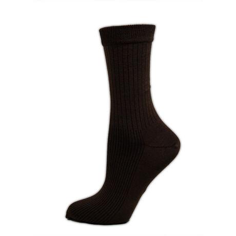 Férfi mercerizált zokni - pamut bokazokni - 39-42 - barna bordázott - Evidence