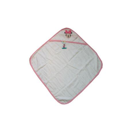 Minnie egér baba kapucnis törölköző - pamut babatörölköző – fehér-világos rózsaszín
